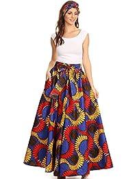 Sakkas Asma Convertible Traditional Wax Print Adjustable Strap Maxi Skirt | Dress