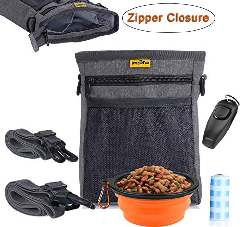 Uvoguepaw Dog Treat Pouch,Training Bag with Poop Bag,Collapsible Bowl,Clicker(Built-in Whistle) – Zipper Closure,Dual compartments,3 Ways to Wear,Carry Pet Toys,Treats,Kibble – Grey For Sale