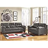 Flash Furniture Signature Design by Ashley Alliston Living Room Set in Gray DuraBlend