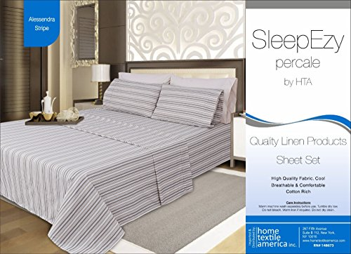 (SleepEzy Luxury 6 piece Sheet set with 2 Bonus Pillow Cases, Egyptian Cotton Rich Percale, Fully Elasticated Deep Pocket fitted sheet Allesandra Stripe Queen)