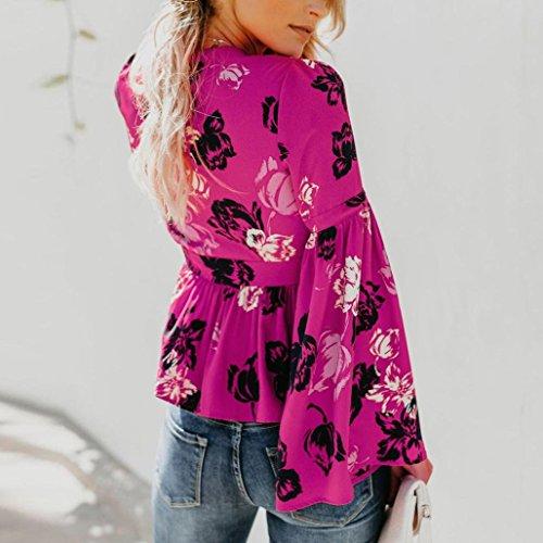 Femme Haut Tops Chemise Chemisier Rose Bringbring Floral Longue Manches Imprim Shirt qwqPZxSFr