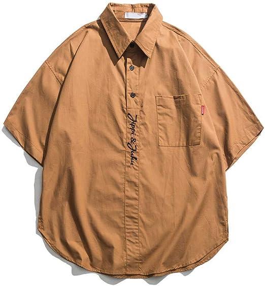 CSDM Camisa de Hombre Bordado con Letras Bolsillo Delantero Camisas extragrandes Hombres Verano Manga Corta Lado Hombre Dividido Camisas: Amazon.es: Hogar