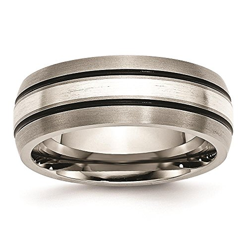 Titanium Grooved Sterling Silver Inlay 8mm Brushed & Antiqued Wedding Ring Band by Chisel Size - Wedding Mens Antiqued Ring