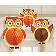 Amscan Colors of Fall Thanksgiving Party Honeycomb Owl Hanging Decoration (3 Piece), Orange/Brown, 15  x 15