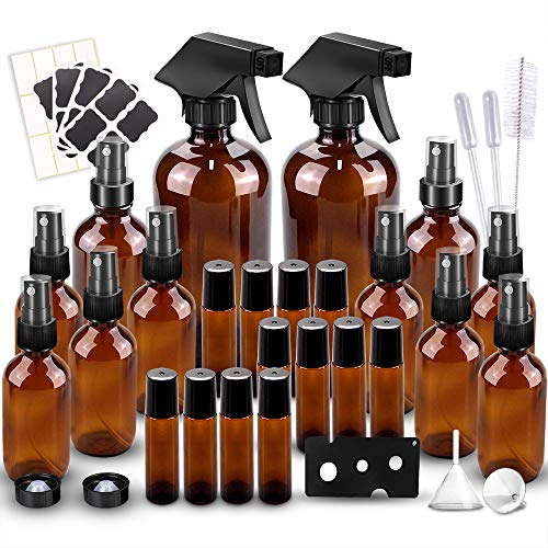 Glass Spray Bottles Kits, BonyTek Empty 12 10 ml Roller Bottles, 12 Amber Essential Oil Bottle 216oz,24oz,82oz with Labels for Aromatherapy Cleaning Products