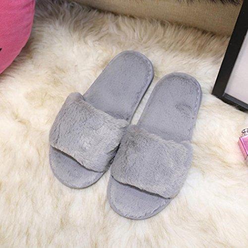 acb25d4c640 chic Taottao pour femmes Chaussons décontracté Fluffy Fausse fourrure Plat  Pantoufles Flip Flop Sports et plein
