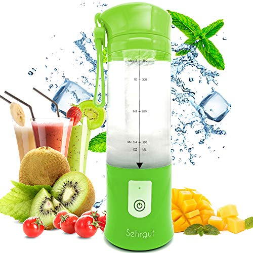 Sehrgut Portable Personal Smoothie Blender,USB Single Serve Rechargeable 14.2-oz Blender with USB cable as a Travel,Work,Gym BPA Free Juicer,Green