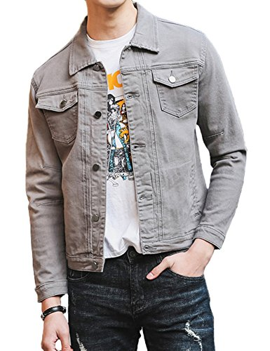 DSDZ Mens Classic Slim Fit Trucker Jean Denim Jacket Coat Grey US M(Tag 2XL)