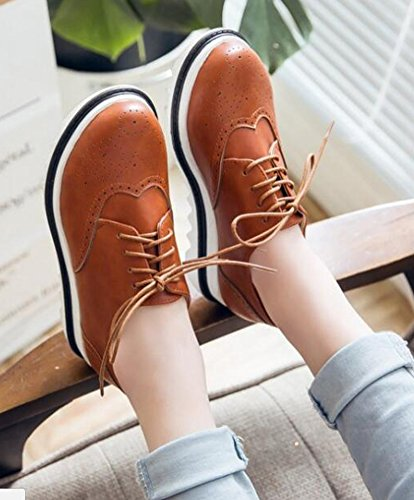 IDIFU Womens Retro Mid Wedge Heels Platform Lace Up Sneakers Yellow AJtwvj