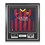 Xavi Hernandez And Andres Iniesta Signed 2013-14 Barcelona Soccer Jersey. In Deluxe Black Frame With Silver Inlay