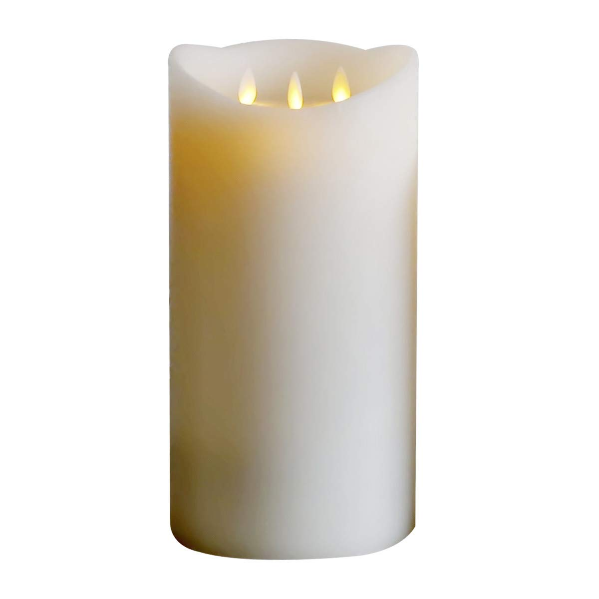12'Huge 3-Wicks Flameless Candles Real Wax Pillars Include Realistic Dancing LED Flames and Remote Control with 24-Hour Timer Function by 3 -C Batteries(not Included),Battery operarated