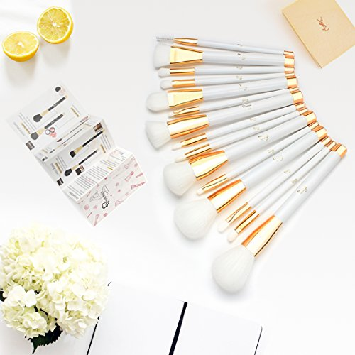Qivange Makeup Brush Set, with Cosmetic Bag Synthetic Makeup Brush Eye Makeup Brushes Professional Makeup Brushes(15pcs, White with Gold)