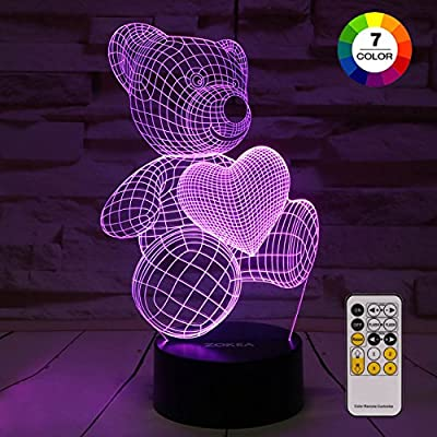 Night Light 3D lamp 7 Colors Changing Nightlight with Smart Touch & Remote Control 3D Night Light for Kids or as Gifts for Women Kids Girls Boys