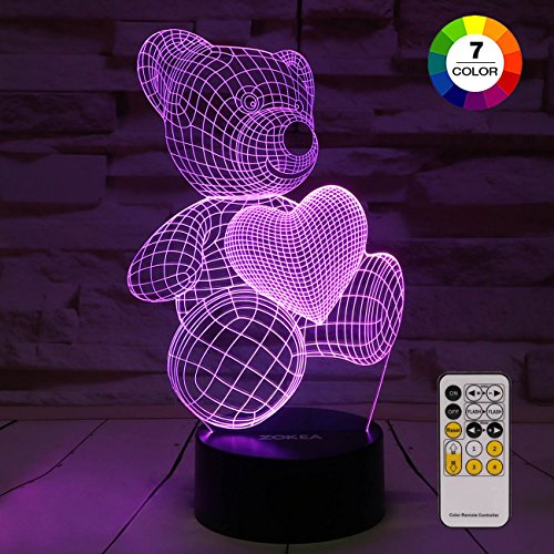(ZOKEA Night Light 3D lamp 7 Colors Changing Nightlight with Smart Touch & Remote Control 3D Night Light for Kids or as Gifts for Women Kids Girls Boys (Teddy)