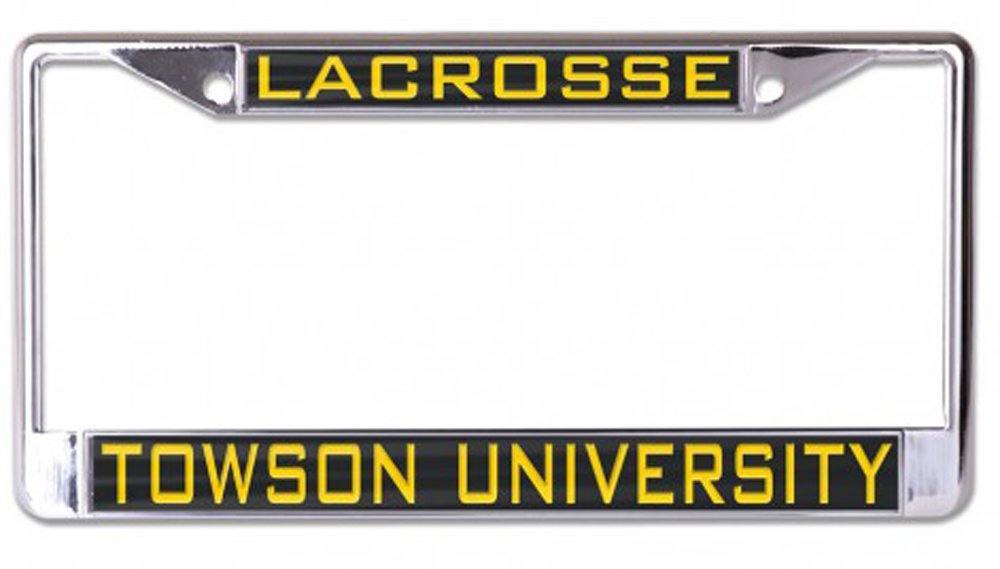 Towson University Tigers Lacrosse License Plate Frame metal with black inlaid acrylic
