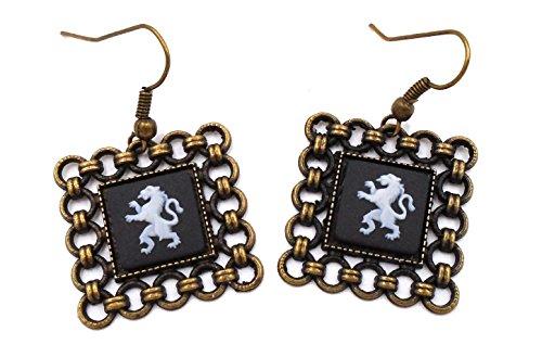 Cameo Wedgwood Earrings (Wedgwood: Brass & Black Jasperware Earrings