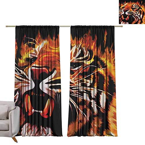 berrly Window Curtain Drape Safari,Fire Power Tiger Flames Hunter Forest King Beast Stripes Furry Large Animal, Orange Black White W108 x L84 Room Darkening Wide Curtains