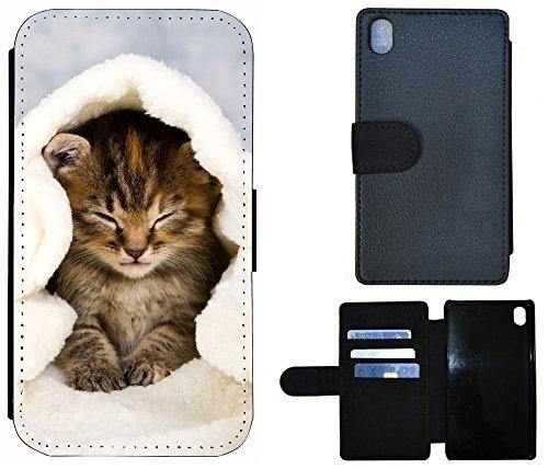 Flip Cover Schutz Hülle Handy Tasche Etui Case für (Sony Xperia Z3 / Z3 Plus, 1003 Katze Katzen Baby Braun Blau Weiß)