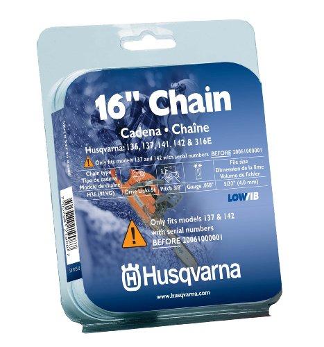 Husqvarna 531300446 16-Inch H37-56 (91VG) Lo-Pro Saw Chain, 3/8-Inch by .050-Inch