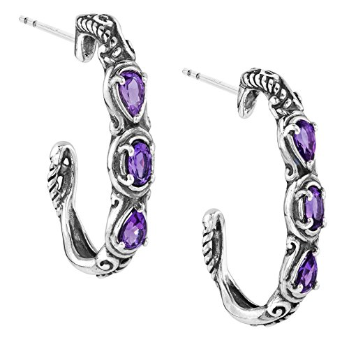(Carolyn Pollack Sterling Silver Purple Amethyst Gemstone 3 Stone Hoop Earrings)