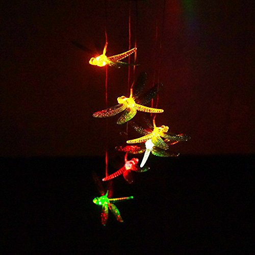 Deerbird® Solar Mobile Wind Chime Dragonfly LED Changing Light Color Waterproof Wind Chimes with Metal Chassis for Outdoor Decorative by Deerbird®