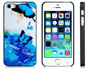 CECT STOCK Butterfly Print Funda protectora plástica mate con bordes negros para iPhone 5S / 5