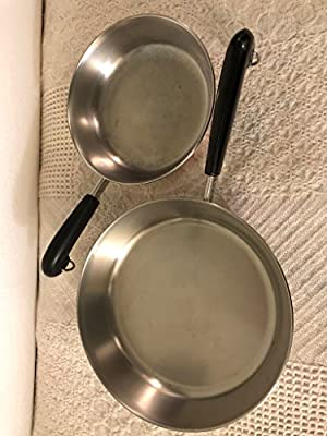 "Vtg Revere Ware SS Copper Bottom Saucepan Set 7""& 9"" No lids"
