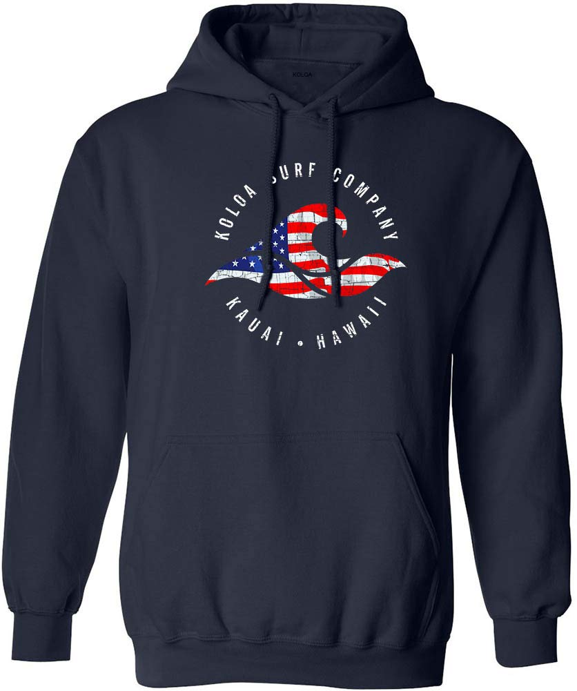 Koloa Surf(tm) Vintage USA Flag Wave Logo Hooded Sweatshirt -Navy/c-S
