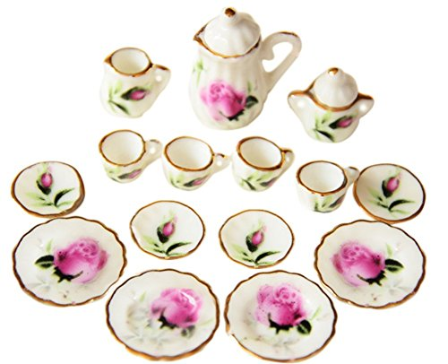 BESTLEE 1:12 Miniature 15PCS Rosebud Porcelain Tea Cup Set with Golden Trim Dollhouse Kitchen -