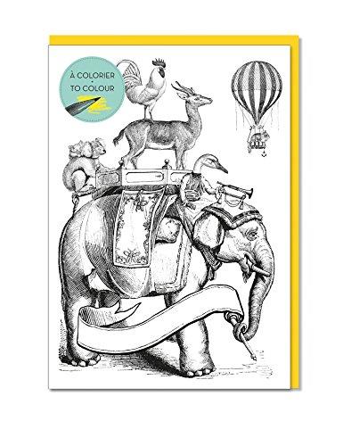 - Alibabette Editions 3 pack Cards to Colour Bon Voyage 6.7 x 4.75 200g Watercolor Paper w/Lemon Yellow Envelope (CD1007)