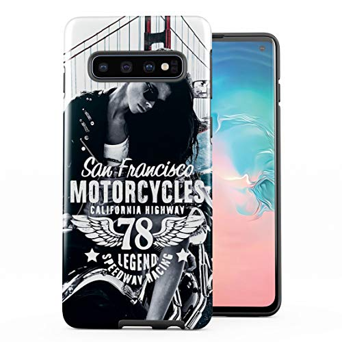 - Sexy Biker Girl San Francisco Golden Gate Bridge California Double Layer Hard PC Armor & Shock Absorbing TPU Tough Cover Shell Compatible with Samsung Galaxy S10