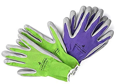Garden Gloves for Women, Nitrile Coating for Protection, Soft and Breathable Nylon