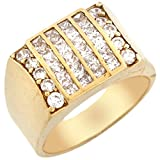 10k Gold Six Row CZ Cluster High Polish Fancy Mens Ring
