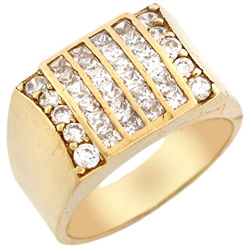 10k Gold Six Row CZ Cluster High Polish Fancy Mens Ring by Jewelry Liquidation