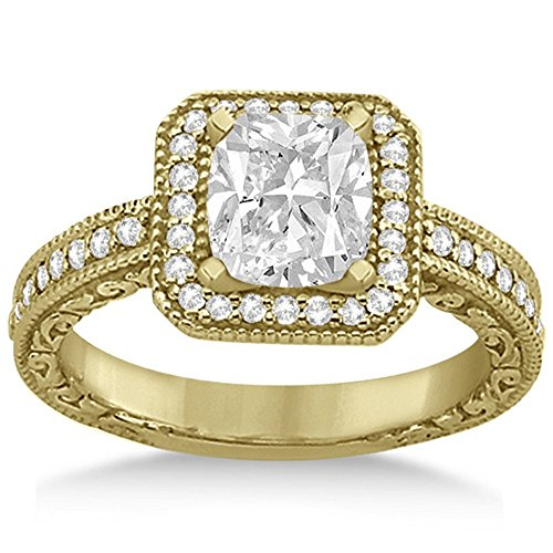Milgrain Square Halo Diamond Engagement Ring 18kt Yellow Gold (0.32ct) GH/VS 18kt White Gold Antique Ring