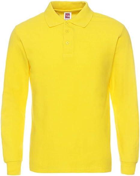 NISHIPANGZI Camisetas de algodón para Hombres Camisas Polo Manga Macho Superior de Algodón Cómodo Polo Manga Larga Amarilla, XXL: Amazon.es: Deportes y aire libre