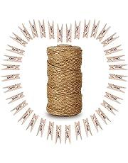 G2PLUS, 100 stuks houten wasknijpers, gekleurd, wasknijpers, knijpers voor fotopapier, kledingroller, met 30 m jute twine