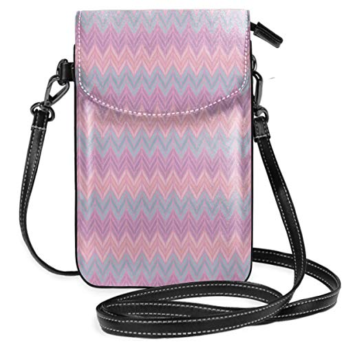 (Women Small Cell Phone Purse Crossbody,Lovely Abstract Pattern With Colorful Leafy Motif Artistic Zigzags Print)
