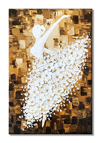 Paimuni Contemporary Art Oil Painting On Canvas Ballet Girl Dancer in Floral Dress 3D Texture Palette Knife Hand-Painted Abstract Painting Modern Home Decor Wall Art Picture Ready to Hang 24x36inch