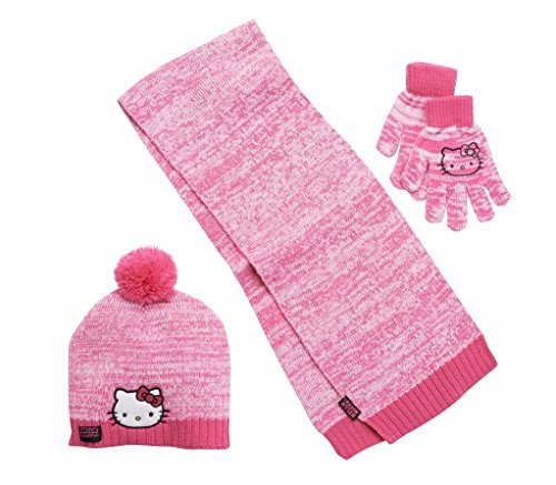 Girls Hot Pink Hello Kitty Knit Cold Winter Set-- Hat, Gloves, & Scarf ()