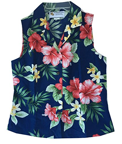 Alohawears Clothing Company Women's Hibiscus Floral Hawaiian Aloha Sleeveless Blouse Shirt (L, Navy) -