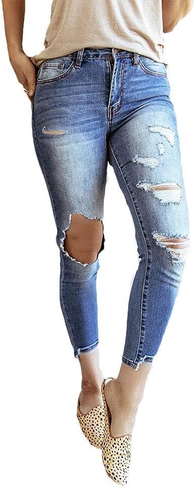 Pantalones Vaqueros De Moda Mujer Pantalones Para Vaqueros Modernas Casual Ajustados De Cintura Alta Ajustados A La Moda Pantalones Vaqueros De Verano Para Mujer Con Agujeros Clasicos Pantalones De Amazon Es Ropa Y