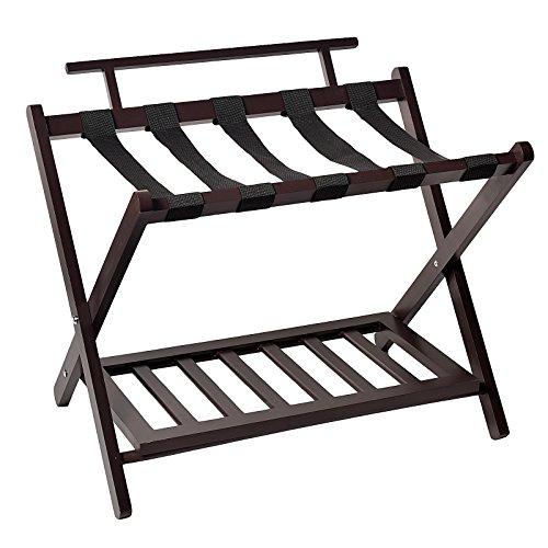 WELLAND Wood Wall Saver Folding Luggage Rack With (Wood Luggage Rack)