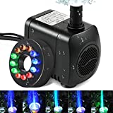 Intsun 220 GPH (800L/H, 12W) Submersible Water Pump for Fish Tank, Aquarium, Fountain, Pond, Small Silent 12 LED Colorful Pump Lights with 2 Nozzle, 6 Feet Power Cord