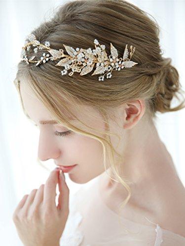 Aegenacess Gold Wedding Headband Leaf Flower Hair Vine