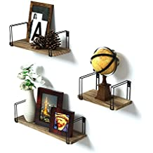 Wall Mount Floating Shelves Set of 3 - SRIWATANA Rustic Wood Storage Shelves, Book Shelves for Free Grouping of Bedroom, Living Room, Kitchen, Office