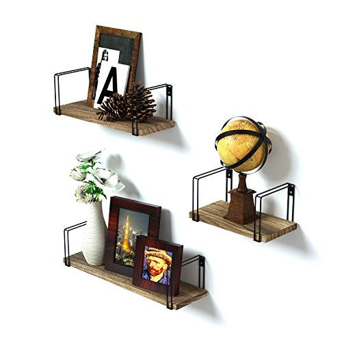 SRIWATANA Wall Mount Floating Shelves Set of 3 Rustic Wood Storage Shelves, Book Shelves for Free Grouping of Bedroom, Living Room, Kitchen, Office ()