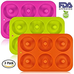 TimedMALL Silicone Doughnuts Baking Pan,Non-Stick Cake Mold Bake Full Size Perfect Shaped,Durable Baking Kitchen Accessories Easy to Clean (3pcs) 6-Cavity