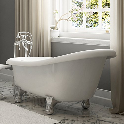 Luxury 60 inch Modern Clawfoot Tub in White with Stand-Alone Freestanding Tub Design, Includes Modern Polished Chrome Cannonball Feet and Drain, From The Brookdale Collection by Pelham & White