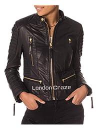 London Craze Women's Stylish Genuine Lambskin Motorcycle Biker Leather Jacket 145